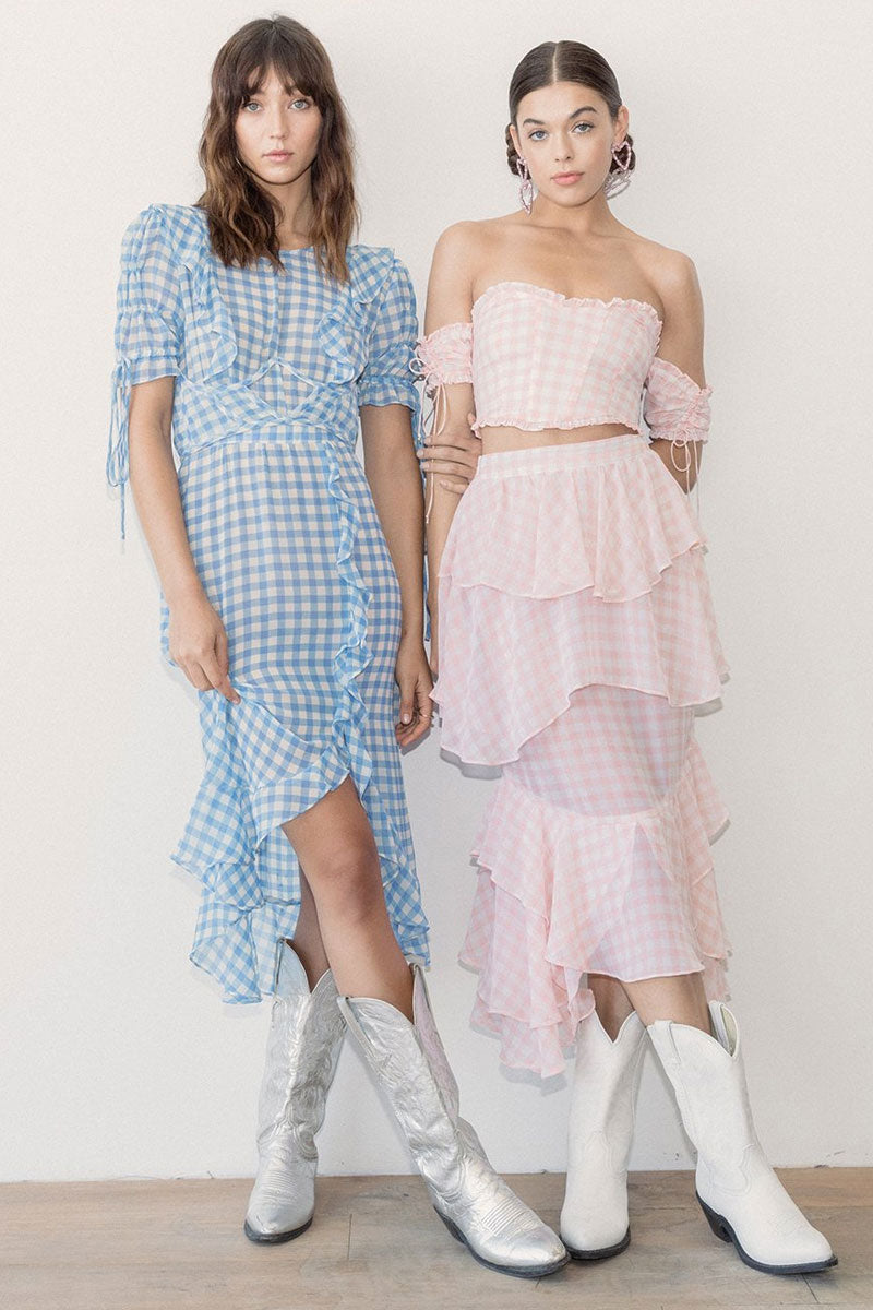 FOR LOVE AND LEMONS Dorothy Ruffled Midi Skirt - Pink Gingham Skirt | Pink Gingham| For Love And Lemons Dorothy Ruffled Midi Skirt -Pink Gingham Features:  Layered Ruffle Details Invisible Side Zipper Unlined Dry Clean Only Self: 100% Polyester; Lining: 97% Polyester/3% Spandex Front View