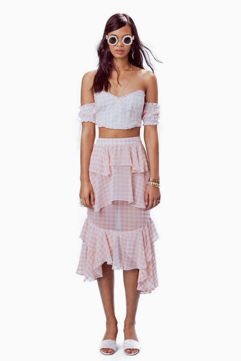 FOR LOVE AND LEMONS Dixie Ruffled Crop Top - Pink Gingham Top |  Pink Gingham| For Love And Lemons Dixie Ruffled Crop Top -  Pink Gingham Features:  Strapless Crop Top Mini Ruffles Shirred Puff Sleeves Exposed Back Hook-and-Eye Closure Fully Lined Dry Clean Only Self: 100% Cotton; Lining: 100% Cotton Front View