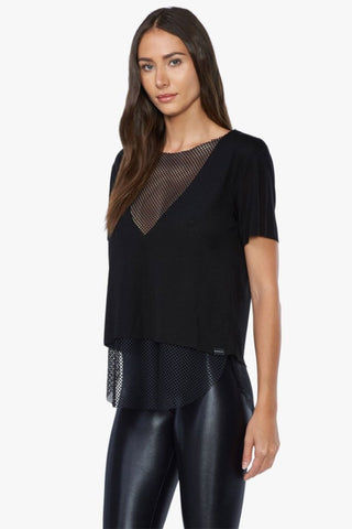 KORAL Double Layer Tencel Jersey Mesh Tee - Black Top |  Black| Koral Double Layer Tee - Black. Features:  Relaxed fit v-neck t-shirt Crewneck Open mesh under layer  Made in USA Front View