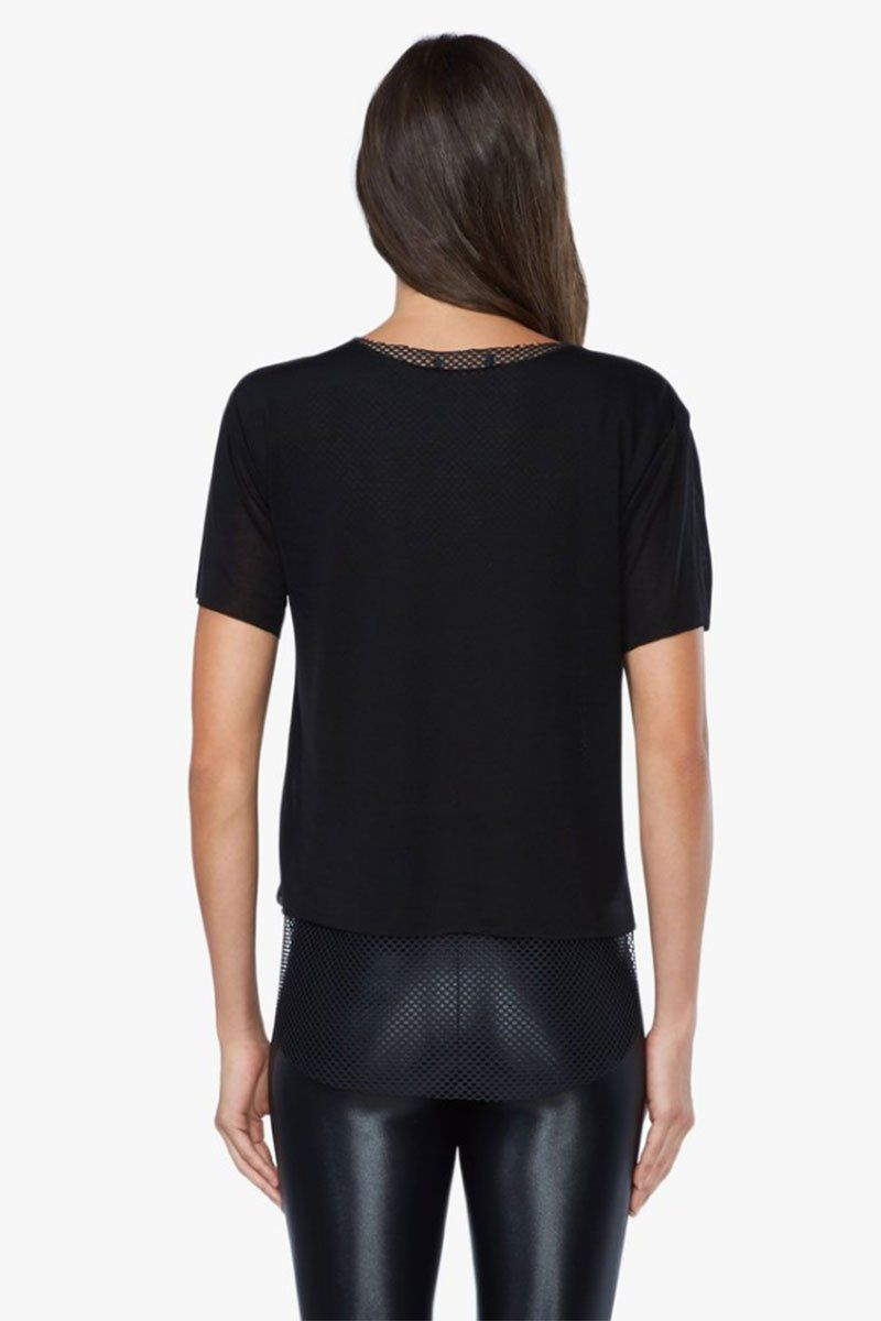 KORAL Double Layer Tencel Jersey Mesh Tee - Black Top |  Black| Koral Double Layer Tee - Black. Features:  Relaxed fit v-neck t-shirt Crewneck Open mesh under layer  Made in USA Back View