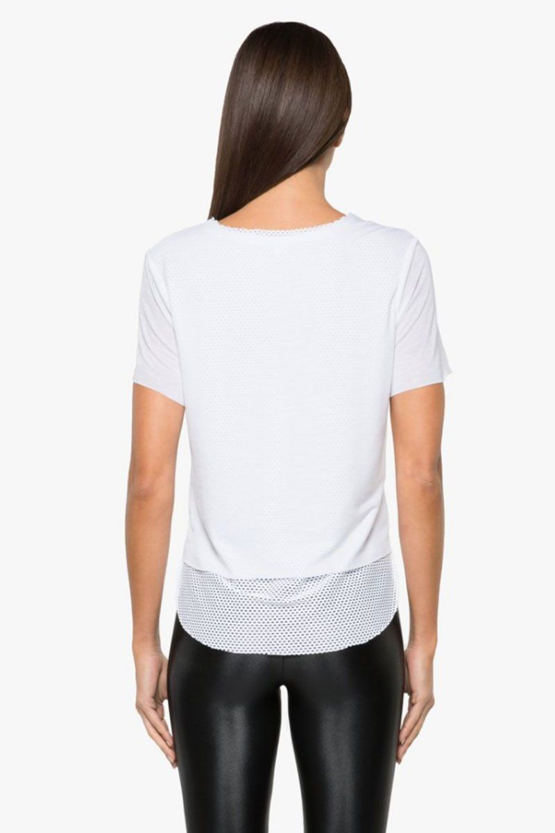 KORAL Double Layer Tencel Jersey Mesh Tee - White Top |  White| Koral Double Layer Tee - White. Features:  Relaxed fit v-neck t-shirt Crew neckline Open mesh under layer  Made in USABack View