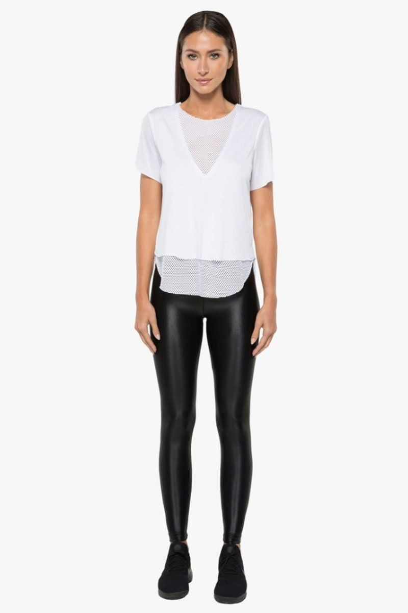 KORAL Double Layer Tencel Jersey Mesh Tee - White Top |  White| Koral Double Layer Tee - White. Features:  Relaxed fit v-neck t-shirt Crew neckline Open mesh under layer  Made in USA Front View