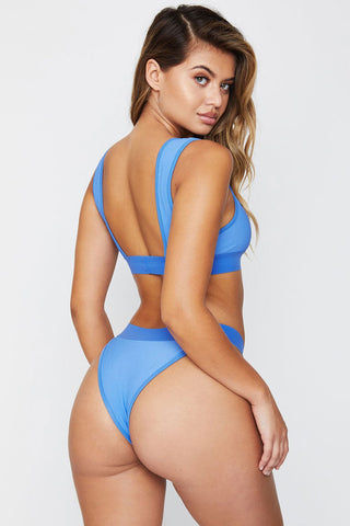 FRANKIES BIKINIS Drew Ribbed Bikini Bottom - Marine Bikini Bottom | Marine|Drew Ribbed Bikini Bottom - Features:  Luxe Ribbed Fabric Seamless Bottom Wide band Bright blue color in Marine Brazilian Coverage