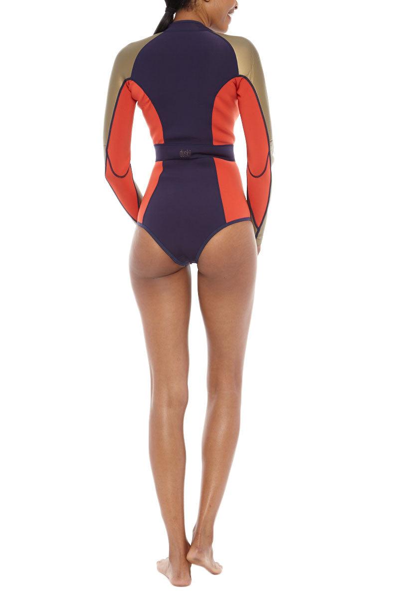 DUSKII Liquidity Longsleeve Suit Wetsuit | Indigo/Tangelo Red/Gold|Duskii Liquidity Longsleeve Suit