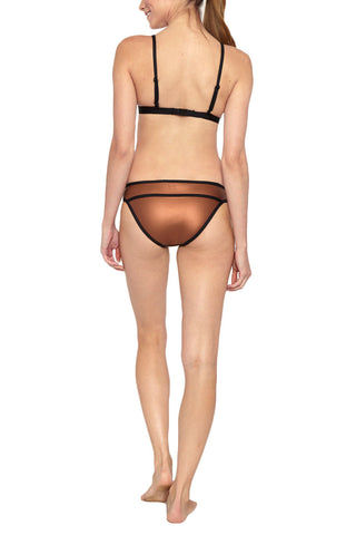 DUSKII Ochre Metallic Triangle Bikini Top - Amber Brown Bikini Top | Amber Brown|  Duskii Ochre Metallic Triangle Bikini Top - Amber Brown * Smooth bronze metallic bikini top with contrasting black trim. Flatlock stitched seams make this top ultra comfortable. * The supportive underbust band and light molded cups are suited for small and large busted figures with light removable padding and adjustable straps to ensure a perfect fit. Back View