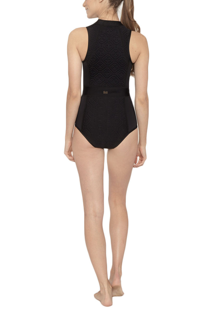 DUSKII Spice Sleeveless Zipper Rashguard Bodysuit - Black Embossed Print Wetsuit | Black Embossed Print| Duskii Spice Sleeveless Zipper Rashguard Bodysuit - Black Embossed Print * Bold black textured fabric active one-piece swimsuit. Keep it sleek in this black paneled suit with seams that show off a sporty feminine silhouette.The form-fitting neckline is chic and high waisted belt panel shows off your waist. * The exposed front zip closure  Moderate backside coverage Back View