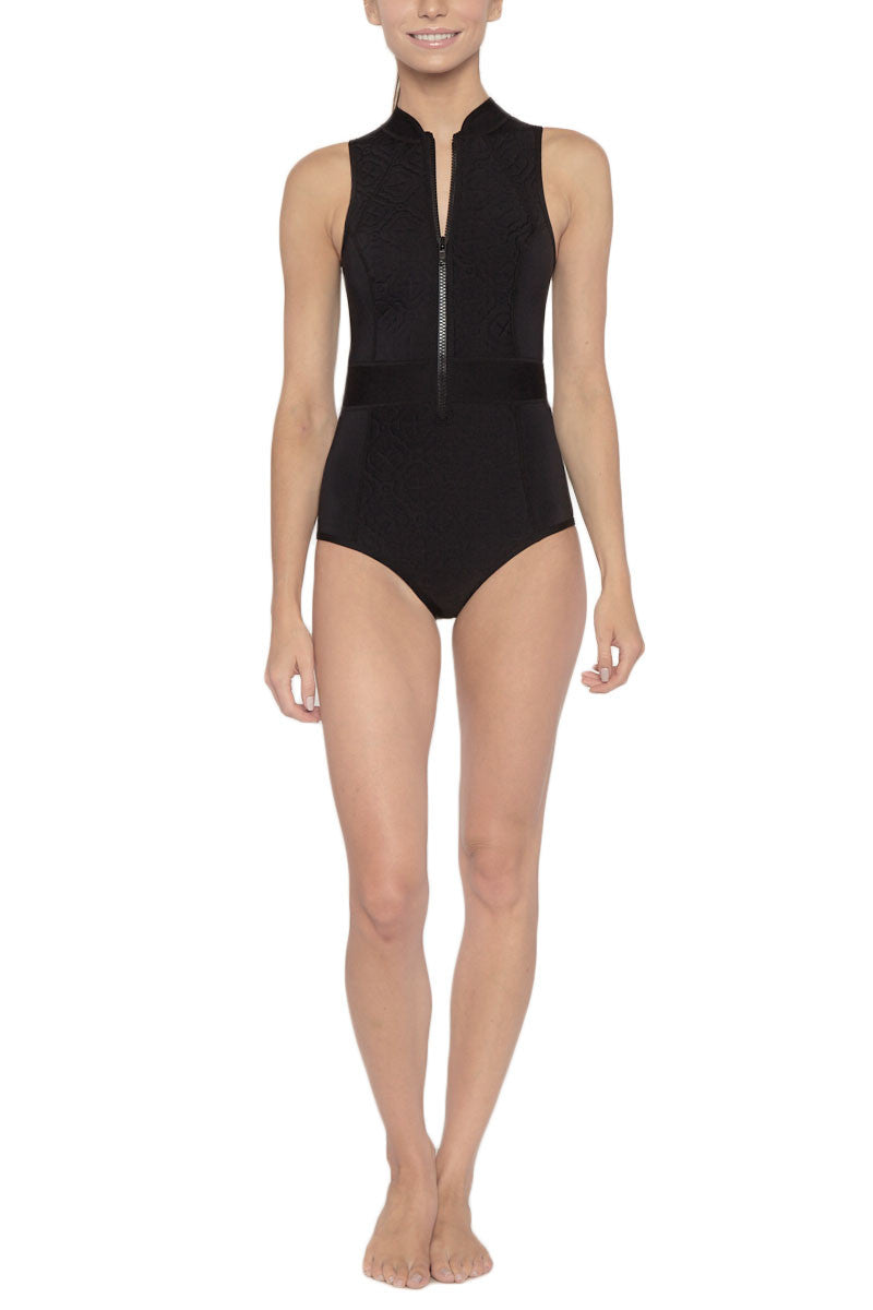DUSKII Spice Sleeveless Zipper Rashguard Bodysuit - Black Embossed Print Wetsuit | Black Embossed Print| Duskii Spice Sleeveless Zipper Rashguard Bodysuit - Black Embossed Print * Bold black textured fabric active one-piece swimsuit. Keep it sleek in this black paneled suit with seams that show off a sporty feminine silhouette.The form-fitting neckline is chic and high waisted belt panel shows off your waist. * The exposed front zip closure  Moderate backside coverage Front View