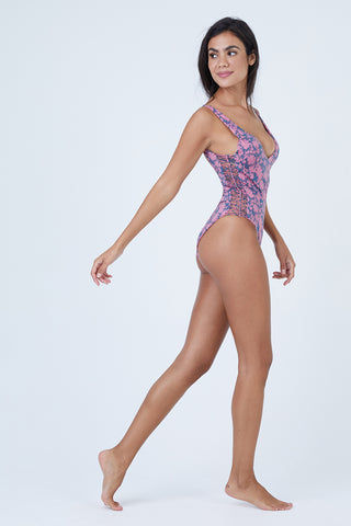 DOLCE VITA Kona Flora Macrame One Piece Swimsuit - Dusty Rose One Piece | Dusty Rose| Dolce Vita Kona Flora Macrame One Piece Swimsuit - Dusty Rose Deep Scoop V Neckline  Macrame Sides Detail  Thick Shoulder Straps  Macrame Back Detail Cheeky - Moderate Coverage Side View