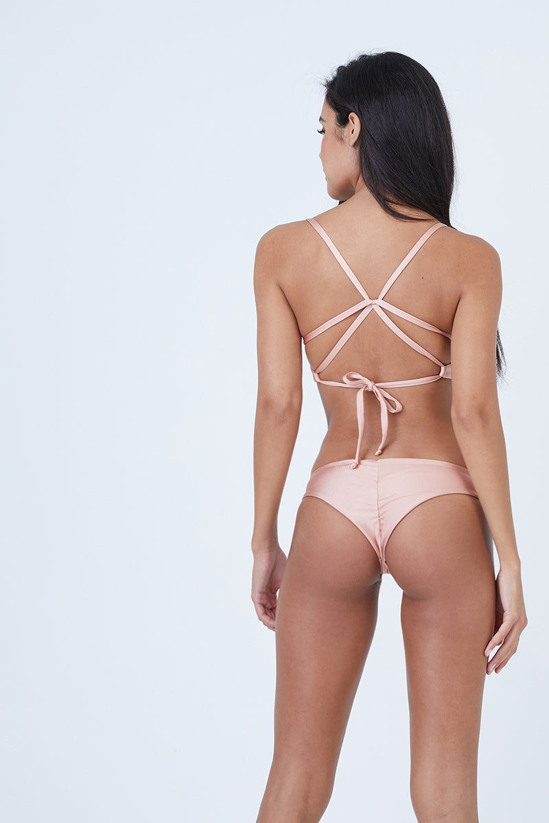 BOYS + ARROWS Clairee Cheeky Ruched Bikini Bottom - Blush Pink & Bashful Bikini Bottom | Blush Pink & Bashful| Boys + Arrows Clairee Cheeky Ruched Bikini Bottom - Blush Pink & Bashful Low rise, scrunch butt, hipster wide side straps pull on style seamless   Back View