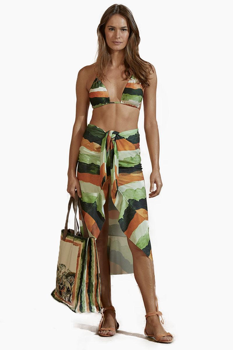 AGUA DE COCO Jersey Front Tie Skirt - Safari Stripe Print Skirt | Safari Stripe Print| Agua De Coco Jersey Front Tie Skirt - Safari Stripe Print High waist  Front tie waist  Front slit detail  Front View