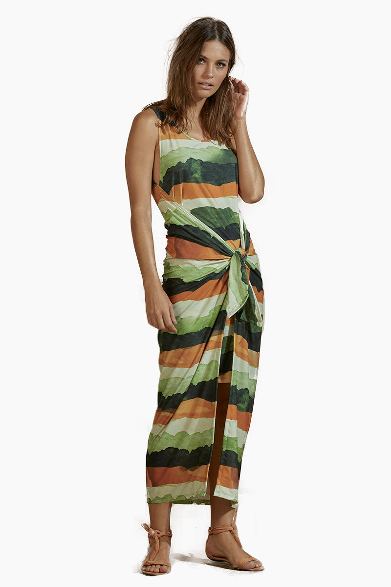 AGUA DE COCO Jersey Long Dress - Safari Stripe Print Dress | Safari Stripe Print| Agua De Coco Jersey Long Dress - Safari Stripe Print Sleeveless long dress Tie front detail  Front slit detail  Front View