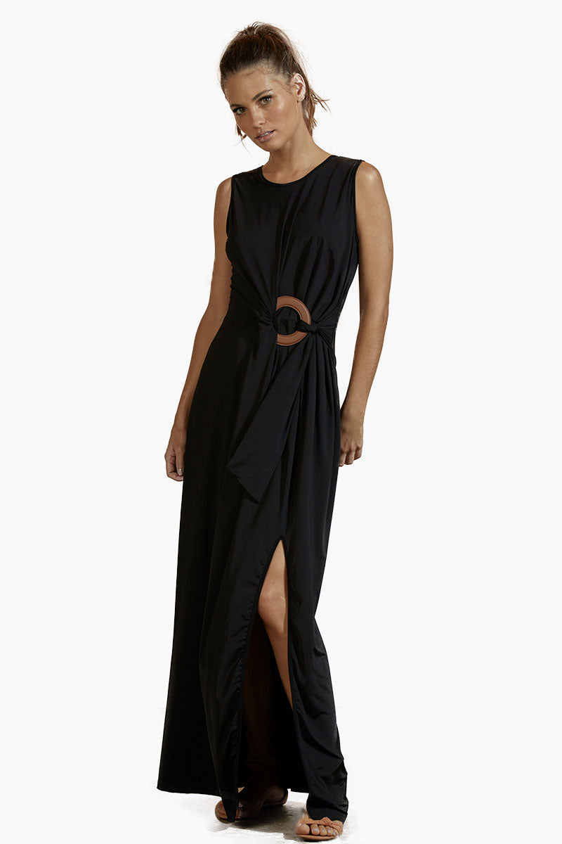 AGUA DE COCO Jersey Center Ring Long Dress - Black Dress | Black| Agua De Coco Jersey Center Ring Long Dress - Black Long black dress High scoop neckline Sleeveless one piece  Center ring detail  Side slit detail Front View