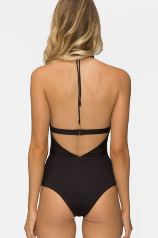 TAVIK Emme Halter Cut Out One Piece Swimsuit - Black One Piece | Black| Tavik Emme Halter Cut Out One Piece Swimsuit - Black  Deep V-neck one-piece swimsuit with cutout details in classic black. Low cut leg with a cheeky coverage The elasticated underbust band back hook closure Back View