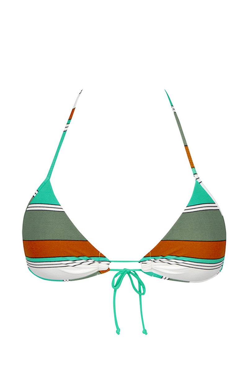 EIDON SWIM Summer Front Tie Triangle Bikini Top - Eucalyptus Print Bikini Top   Eucalyptus Print  Eidon Summer Bikini Top
