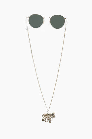 SINTILLIA Elephant Charm Backlace Sunglass Chain - Gold Accessories | Gold| Sintilla Elephant Back Lace Long Backlace Sunglass Chain  Elephant charm, hangs at the end of chain strap  Hangs to back of neckline or midway down the back Lightweight, easy-to-wear strap Attachment piece to attach chain to sunglasses Size: (29 inches / 73 cm) Front View
