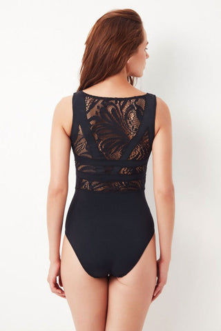 OYE SWIMWEAR Elsa Lace High Neck Sleeveless One Piece Swimsuit - Black One Piece | Black| Oye Swimwear Elsa High Neck Lace One Piece Swimsuit - Black Sleeveless; moderate shoulder coverage Full seat coverage Pull-on 80% Polyamide, 20%Lycra® Hand wash only Handmade in Istanbul, Turkey High quality Italian material Back View