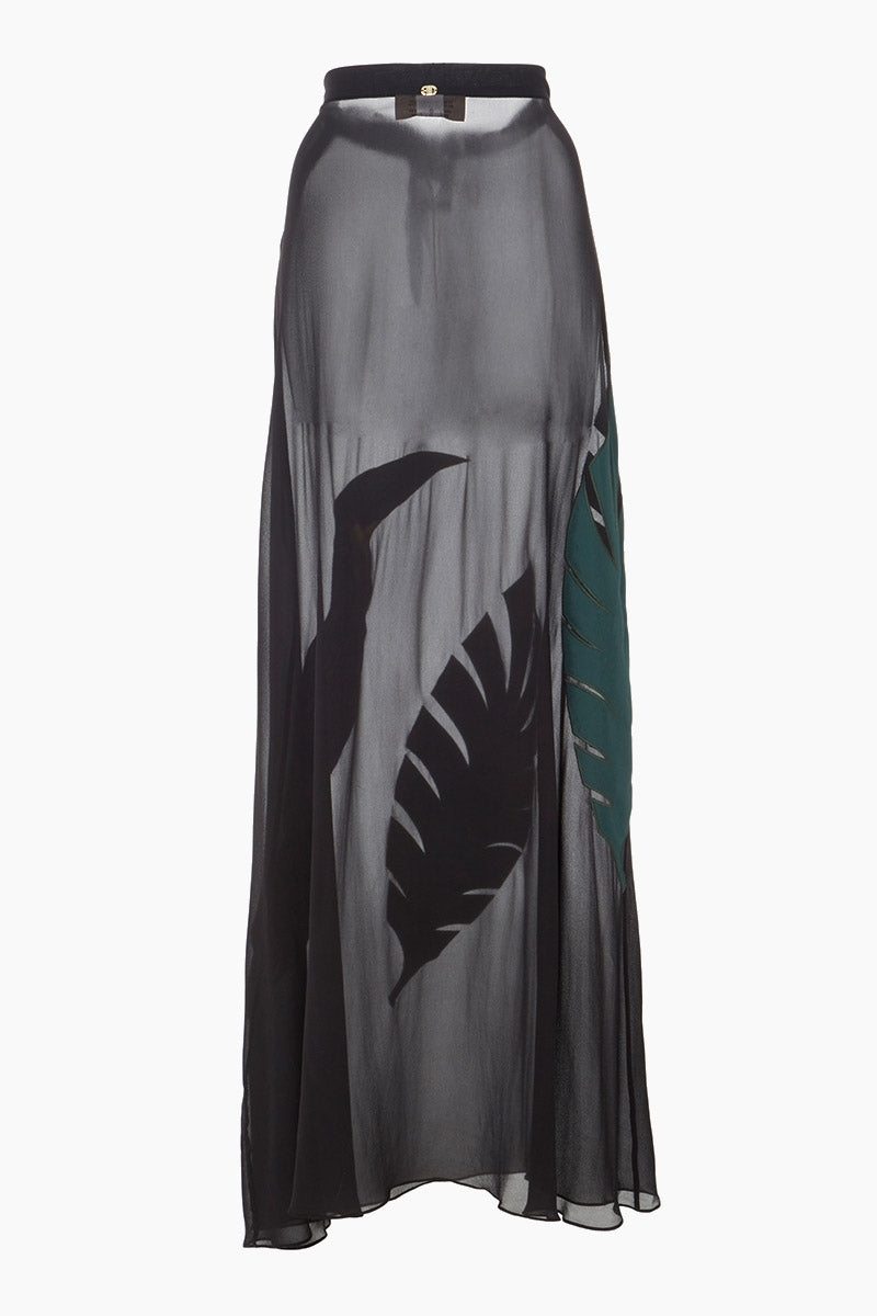 ADRIANA DEGREAS Embroidered Toucan Long Skirt - Black Skirt   Black   Adriana Degreas Embroidered Toucan Long Skirt - Black Back View High Waisted Skirt  Flared Hem  Side-seam concealed zip fastening  Toucan and Green Leaf Appliqués Lightweight Sheer Silk