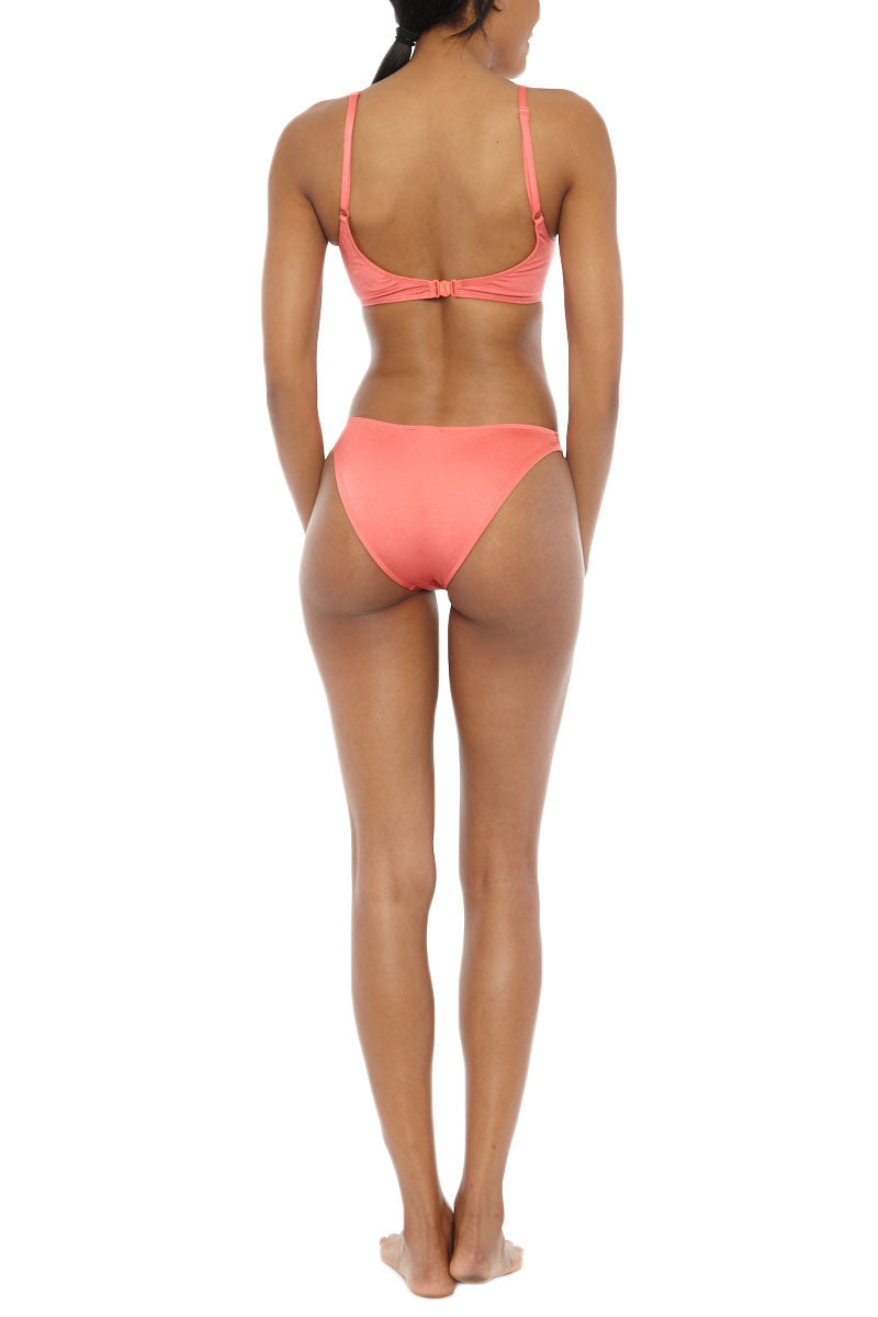 EMMA FORD Elle Seamless Crop Bikini Top - Coral Blush Bikini Top | Coral Blush| Emma Ford Elle Seamless Crop Bikini Top - Coral Blush. Back View. Seamless sport style top. Deep neckline. Low cut back. Fully lined. Adjustable straps. Back clasp closure.