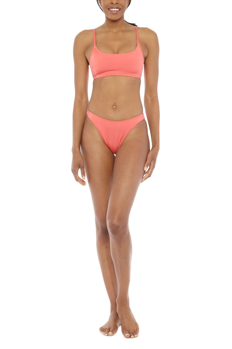 EMMA FORD Elle Seamless Crop Bikini Top - Coral Blush Bikini Top | Coral Blush| Emma Ford Elle Seamless Crop Bikini Top - Coral Blush. Front View. Seamless sport style top. Deep neckline. Low cut back. Fully lined. Adjustable straps. Back clasp closure.