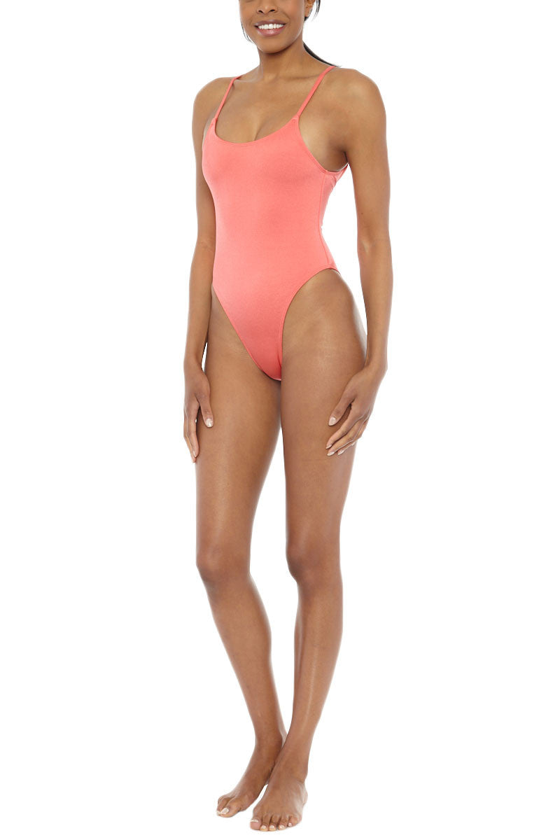 EMMA FORD Elle High Cut One Piece Swimsuit - Coral Blush One Piece | Coral Blush| Emma Ford Elle High Cut One Piece Swimsuit - Coral Blush. Front SideView. High cut one piece. Coral color in Coral blush. Fully lined. Adjustable straps. Deep back. Sits high on hips.