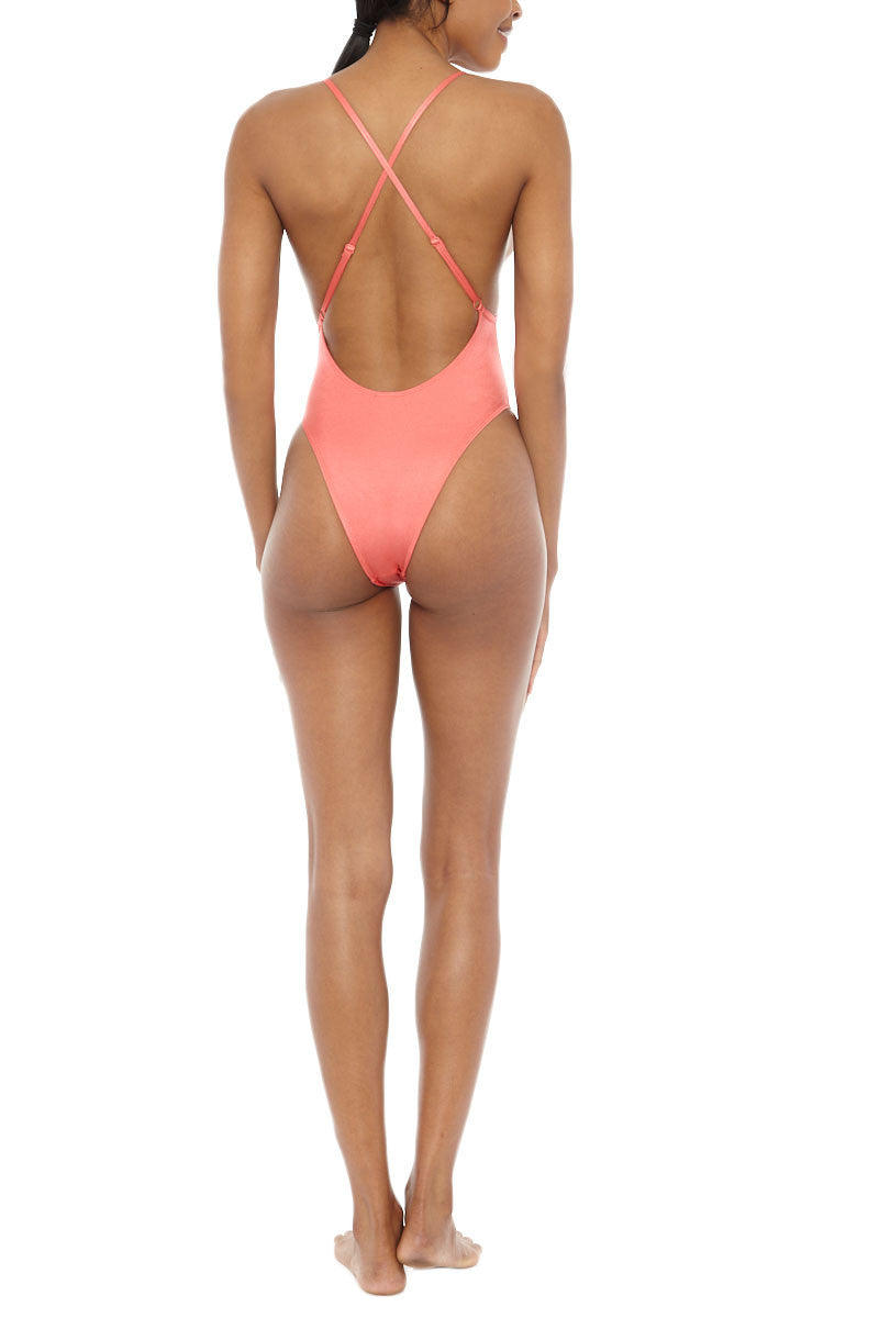 EMMA FORD Helene High Cut One Piece Swimsuit - Coral Blush One Piece | Coral Blush| Emma Ford Helene One Piece