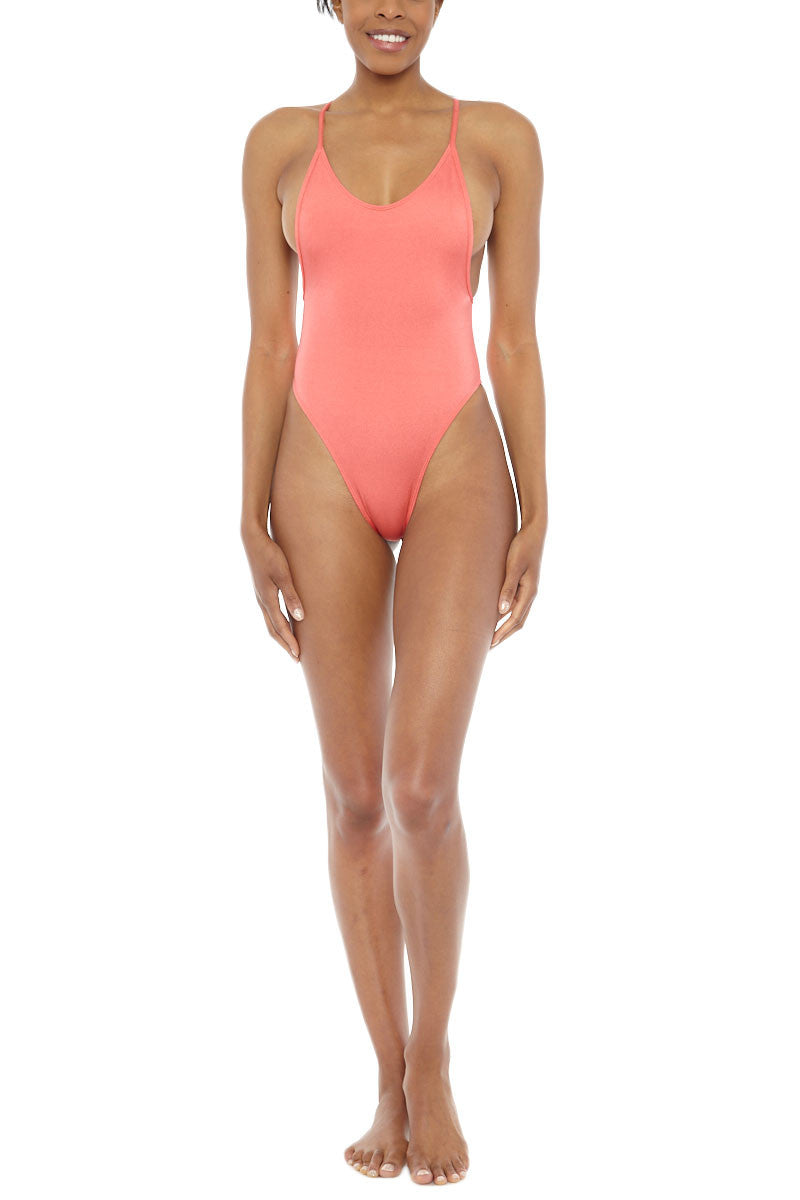 EMMA FORD Helene High Cut One Piece Swimsuit - Coral Blush One Piece | Coral Blush| Emma Ford Helene High Cut One Piece Swimsuit - Coral Blush. Front view. Scoop neckline. Moderate bust coverage. High cut leg. Deep open back. adjustable criss cross back straps. Fully lined.