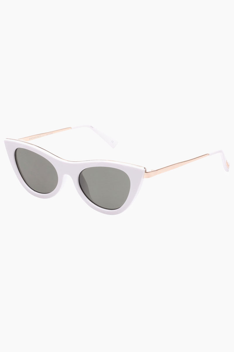LE SPECS Enchantress Sunglasses - White Sunglasses | White|Enchantress - Le Specs Sleek Cat Shape Sunglasses Frame: White Lens: Khaki Mono Good UV protection Gender: Female Lens Width - Nose Bridge - Temple Length      50                   19                    140