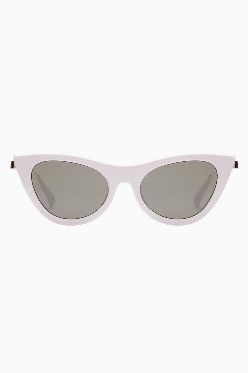 LE SPECS Enchantress Sunglasses - White Sunglasses | White| Enchantress - Le Specs Sleek Cat Shape Sunglasses Frame: White Lens: Khaki Mono Good UV protection Gender: Female Lens Width - Nose Bridge - Temple Length      50                   19                    140