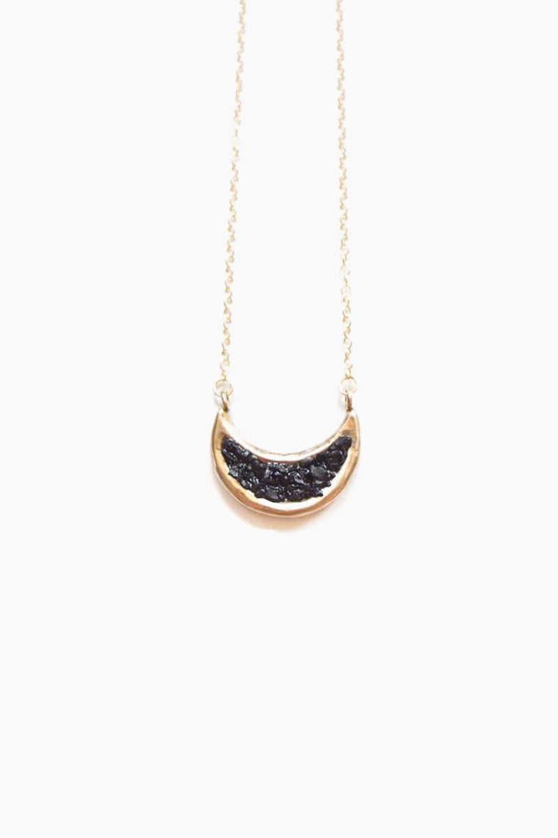 DEA DIA JEWELRY Eon Necklace - Black Jet Jewelry | Black Jet| Dea Dia Jewelry Eon Necklace - Hand Carved Crescent Moon Pendant gold fill chain