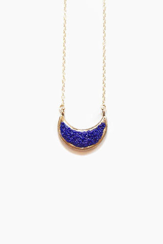 DEA DIA JEWELRY Eon Necklace - Blue Lapis Jewelry | Blue Lapis| Dea Dia Jewelry Eon Necklace - hand carved crescent moon pendant gold fill chain