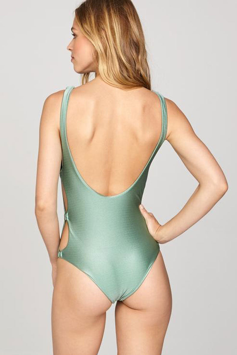 AMUSE SOCIETY Estelle Side Cut Outs One Piece - Sage One Piece | Sage|Estelle Side Cut Outs One Piece - Features:  Side cut out detail One piece Round neck and Scoop back  Thick shoulder strap Metallic green fabric