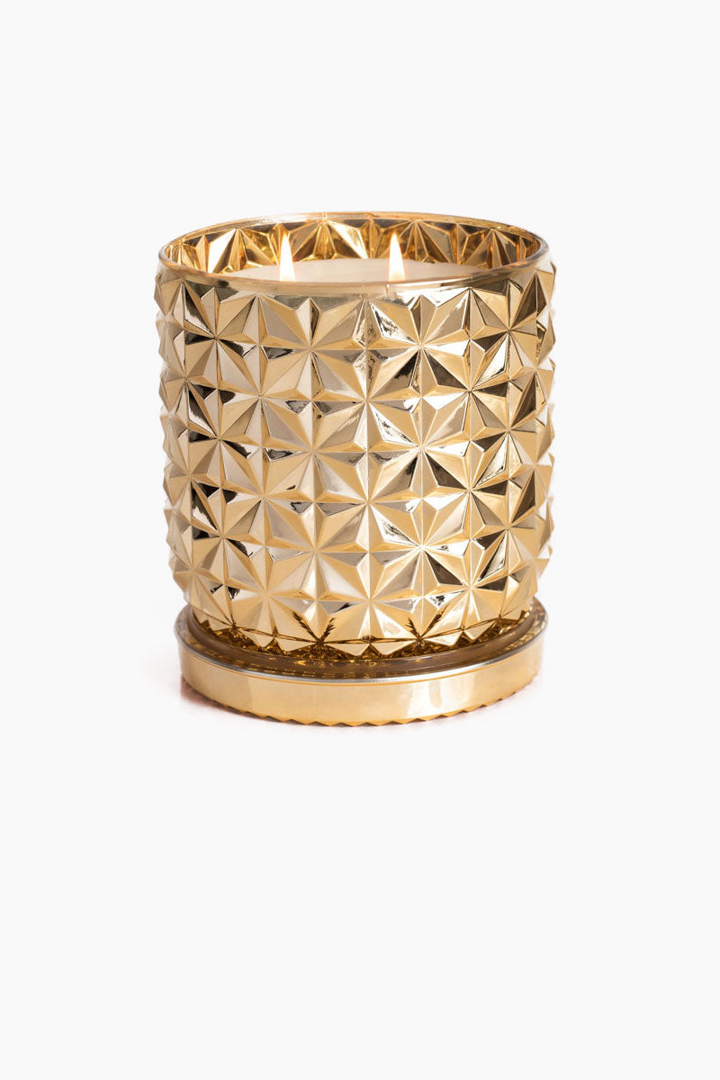 CAPRI BLUE Faceted Gold Jar Candle - Exotic Blossom & Basil 30 oz. Home | NC| Exotic Blossom & Basil 30oz Gold Jar Metallic Gold Gilded Jumbo Faceted Jar With White Floral, Tropical Melon, Rose, and Leafy Basil Candle