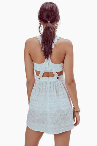 FOR LOVE AND LEMONS Charlotte Eyelet Overalls Mini Dress - White Heart Dress | White Heart| For Love and Lemons Charlotte Eyelet Overalls Mini Dress - White Heart. Features:  Separate Bodice Bandeau Pockets Heart Trim Throughout Back Rose Gold Snaps Adjustable Straps Fully Lined Dry Clean Only Back View