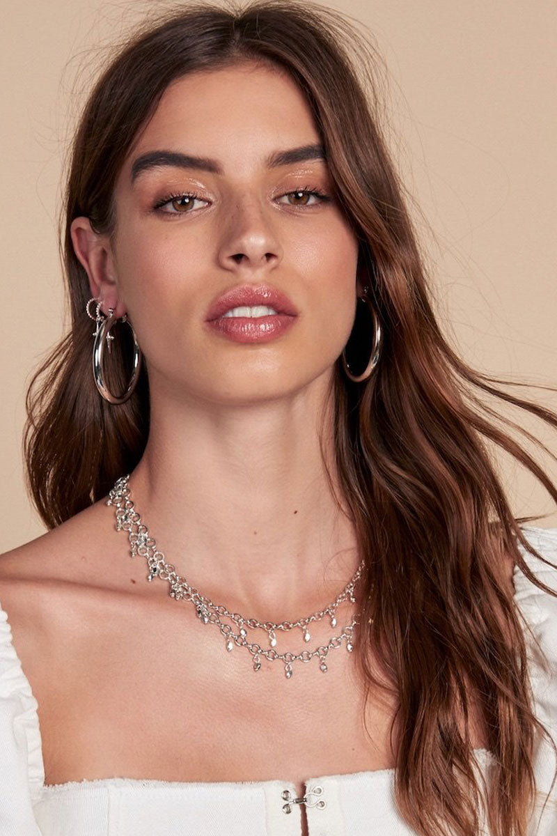 """LUV AJ Faceted Bead Belly Chain - Silver Jewelry 