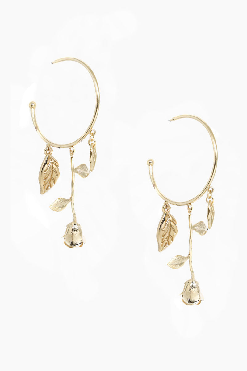 ETTIKA Fallen Rose Hoop Earrings - Gold Jewelry | Gold| Ettika Fallen Rose Hoop Earrings - Gold Full View Dangling Earrings Hoop Shaped Detail Rose Charms 18kt Gold Plated Surgical Steel Posts Nickel Free Length: 3 Inches