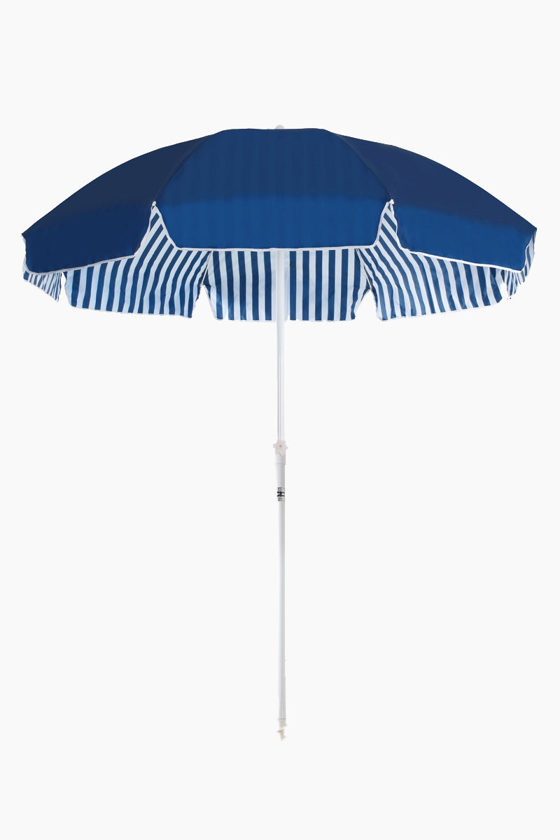 BUSINESS AND PLEASURE CO Family Beach Umbrella - Stripe Navy Pool Accessories | Stripe Navy| Business And Pleasure Co Familly Beach Umbrella - Printed poly/cotton canvas with UV & Water Resistant treatment.
