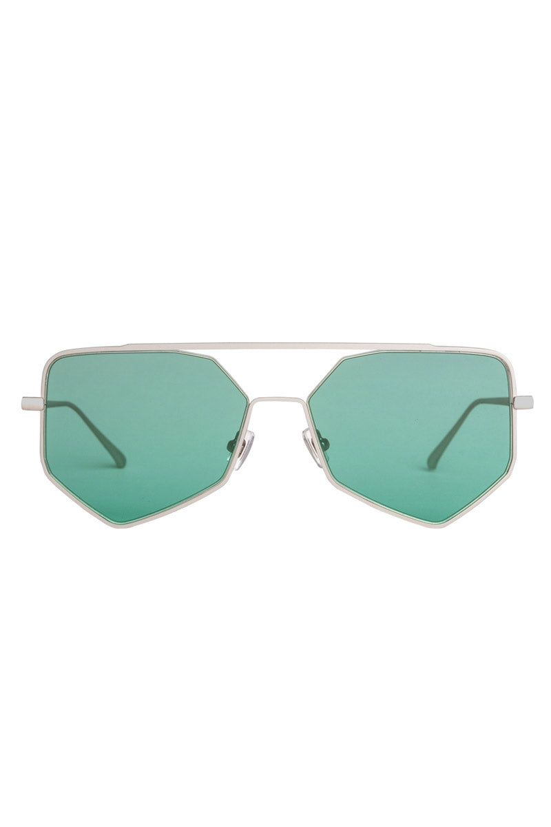 BONNIE CLYDE The Figueroa II Sunglasses - Hummingbird Sunglasses | Hummingbird| Bonnie Clyde The Figueroa II Sunglasses - Hummingbird. Features:  Lightweight Frame  Crisp sharp Lenses Frame Color- Matte Silver Lens Color- Green Tint Unisexual   100% UV Protection   Glare Reduction   Scratch-Resistant Coating Made from Stainless Steel & Acetate