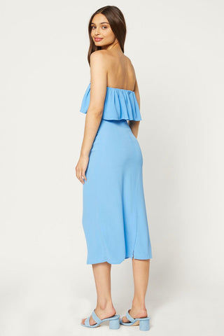 FLYNN SKYE Fiona Midi Dress - Skyfall Dress | Skyfall| Flynn Skye Fiona Midi Dress - Skyfall Strapless midi dress Ruffle flounce overlay  Back zipper closure Unlined Dry clean only 100% rayon Back View