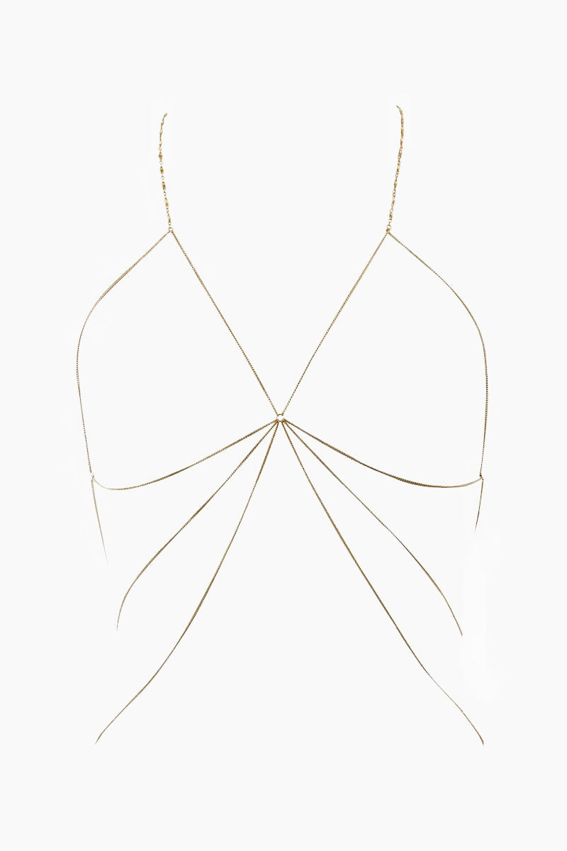 """LUV AJ Fiora Chain Bra - Gold Jewelry 