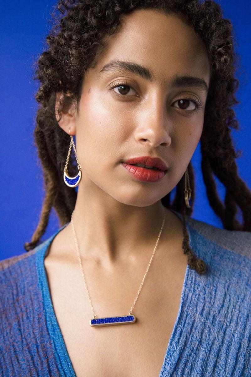 DEA DIA JEWELRY Fissure Necklace - Blue Lapis Jewelry | Fissure Necklace - Blue Lapis | Dea Dia Jewelry hand carved necklace bar pendant