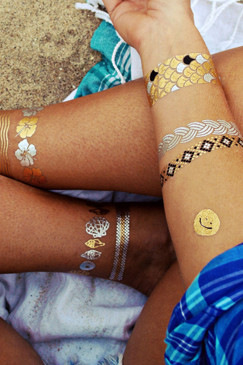 FLASH TATTOOS Goldfish Kiss Set H20 Set Accessories   Metallic  Flash Tattoos Beach-themed temporary metallic jewelry tattoos.