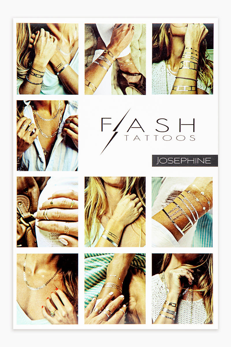 FLASH TATTOOS Josephine Accessories | Metallic| Flash Tattoos Josephine 4 sheets of metallic Parisian chic jewelry inspired temporary tattoos Front View