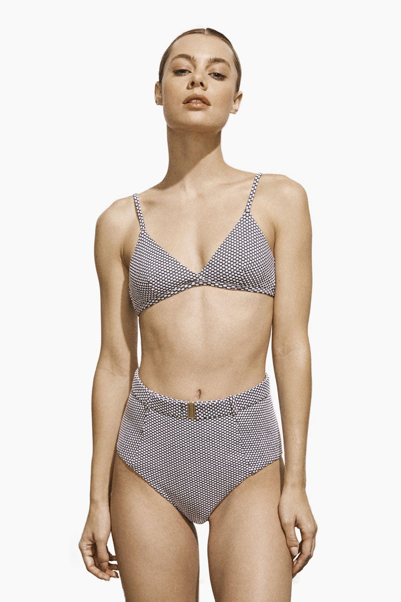 AMAIO SWIM Fleur High Waisted Bikini Bottom - Dot Bikini Bottom | Amaio Swim Fleur High Waisted Bikini Bottom - Dot. Features:  High luxe jacquard fabric. High-waisted. Built-in belt detail. Princess seams. View: Front view, on model.
