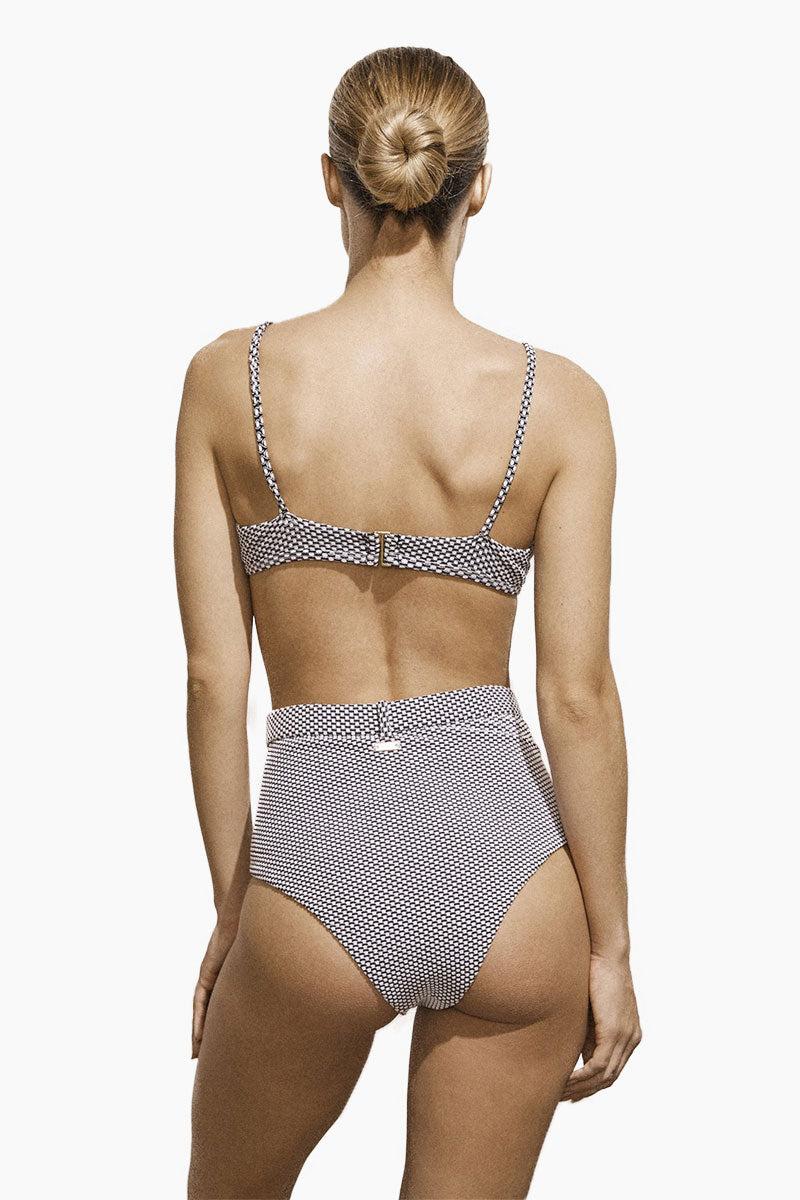 AMAIO SWIM Fleur High Waisted Bikini Bottom - Dot Bikini Bottom | Dot| Amaio Swim Fleur High Waisted Bikini Bottom - Dot. Features:  High luxe jacquard fabric. High-waisted. Built-in belt detail. Princess seams. View: Back view, on model.