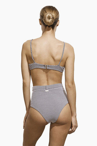 AMAIO SWIM Fleur High Waisted Bikini Bottom - Dot Bikini Bottom | Amaio Swim Fleur High Waisted Bikini Bottom - Dot. Features:  High luxe jacquard fabric. High-waisted. Built-in belt detail. Princess seams. View: Back view, on model.