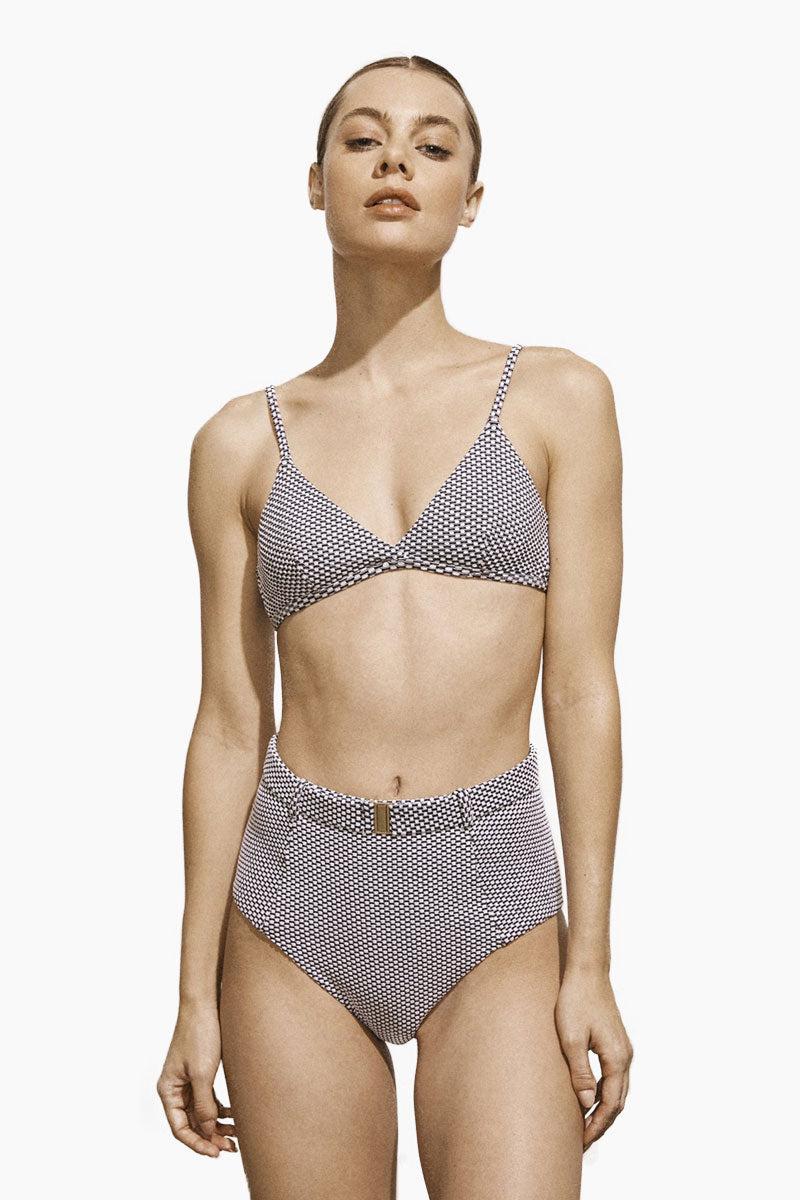 AMAIO SWIM Fleur Basic Triangle Bikini Top - Dot Bikini Top | Dot| Amaio Swim Fluer Basic Triangle Bikini Top - Features: Fixed triangle bikini top. Closure at back. High luxe jacquard fabric.