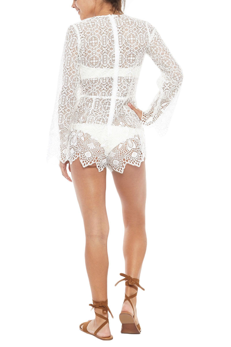 FOR LOVE AND LEMONS Caracas Lace Romper Romper | White Lace| For Love and Lemons Caracas Lace Romper
