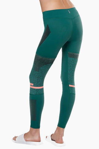 LILYBOD Frankie Leggings - Deep Green Activewear | Deep Green| Lilybod Frankie Leggings - Deep Green. FEATURES:   73% poly , 27% spandex Elasticized waistband Engineered knee panels with unique textured fabric Screen print graphics throughout Pink silicon stripe detail Sheer mesh side panels. View:  Back View.