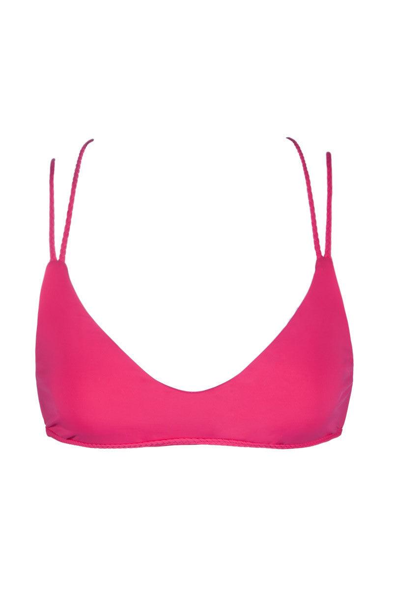 FRANKIES BIKINIS Kaia Braided Bralette Bikini Top - Bright Pink Bikini Top   Bright Pink  Frankies Bikinis Kaia Braided Bralette Bikini Top - Bright Pink Bralette style Braided straps at back Seamless 91% Micro Nylon, 9% Spandex Front View
