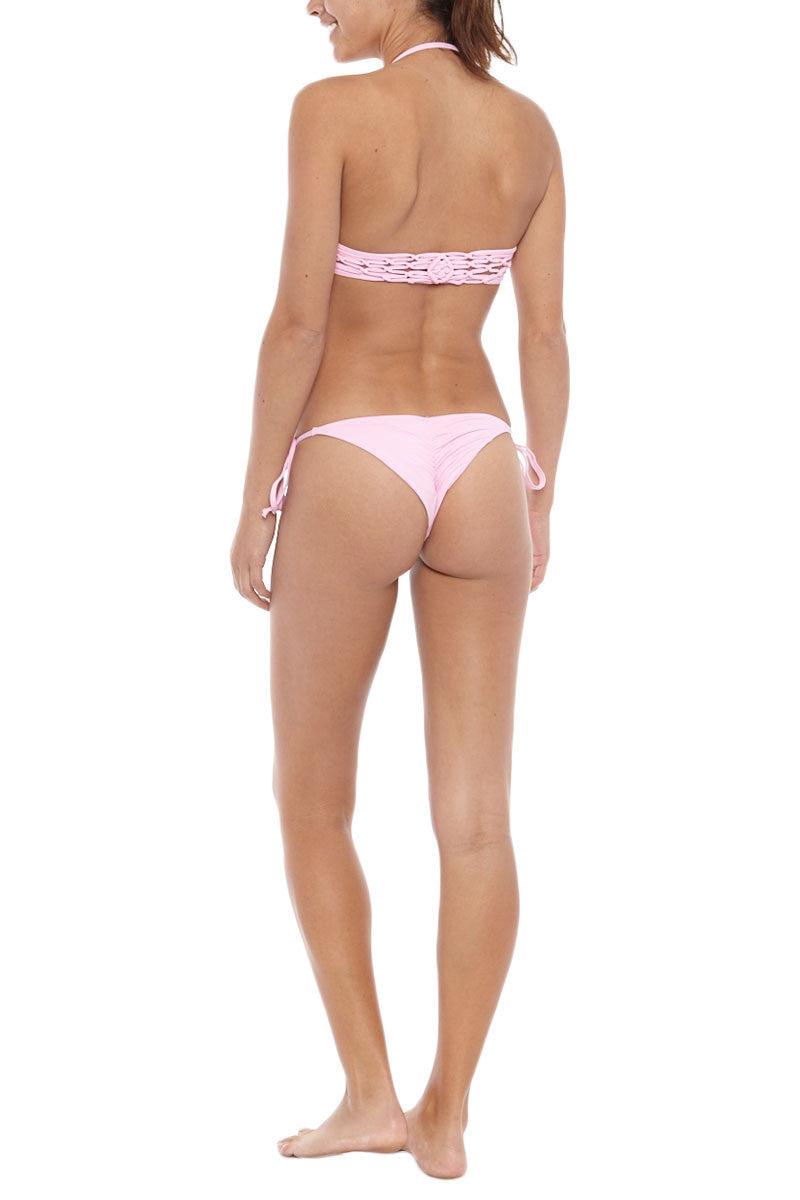 FRANKIES BIKINIS Mistos Cheeky Tie Side Bikini Bottom - Soft Pink Bikini Bottom | Soft Pink| Frankies Bikinis Mistos Cheeky Tie Side Bikini Bottom - Soft Pink Features:  Cheeky cut Tie sides Scrunch butt Seamless 91% Micro Nylon, 9% Spandex Back View